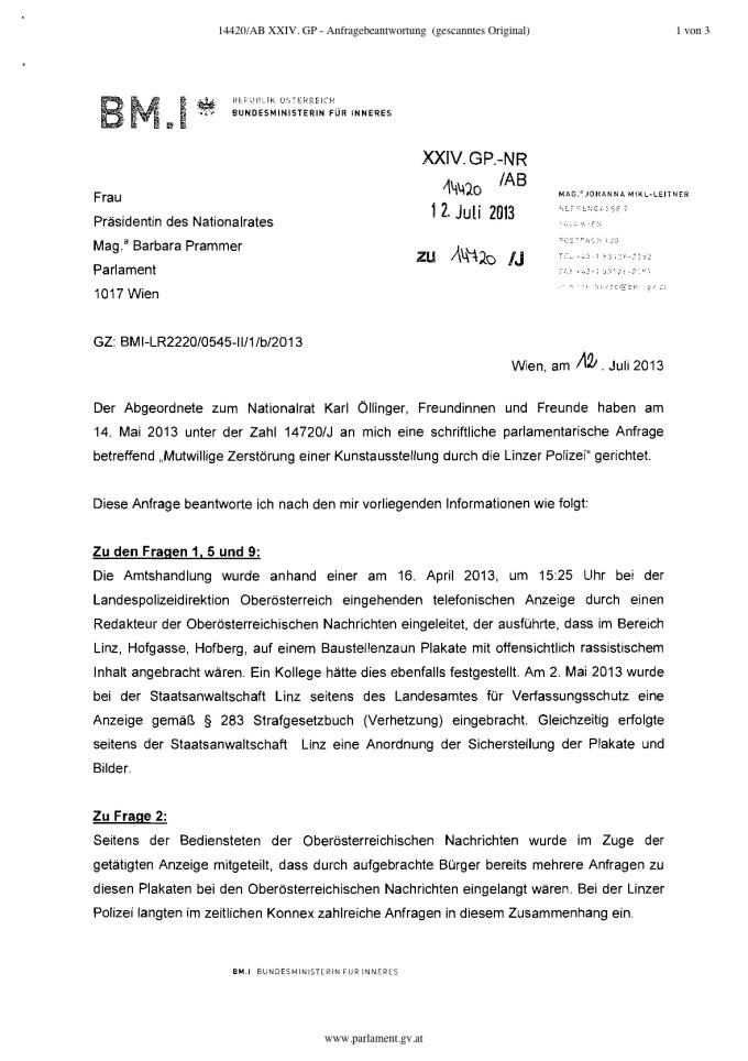 AB Mikl Leitner Ausstellung Linz Verhetzung..