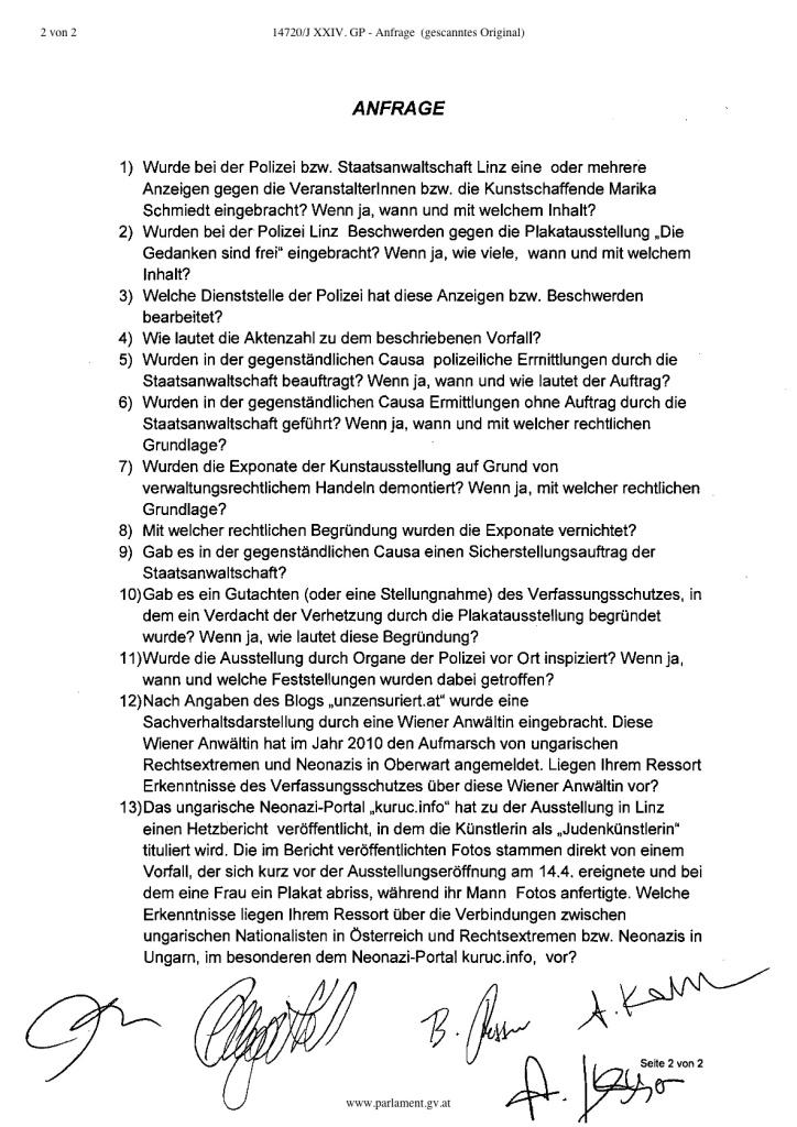 Anfrage BMI Kunstausstellung Linz.