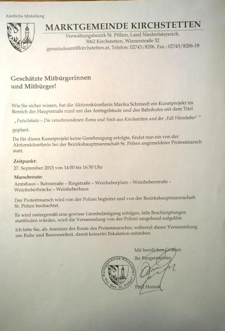Aussendung BGM. Horsak